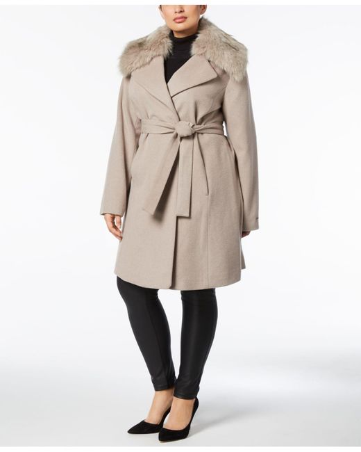 T Tahari   Brown Faux-fur-collar Wrap Coat   Lyst