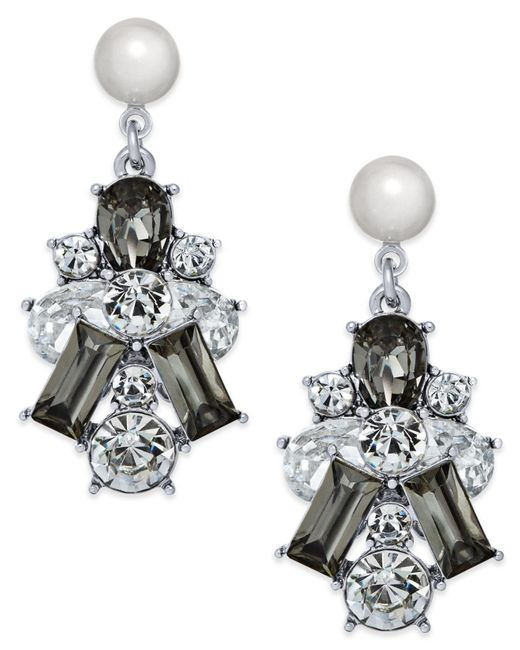 Charter Club | Metallic Silver-tone Clear & Jet Crystal With Imitation Pearl Drop Earrings | Lyst