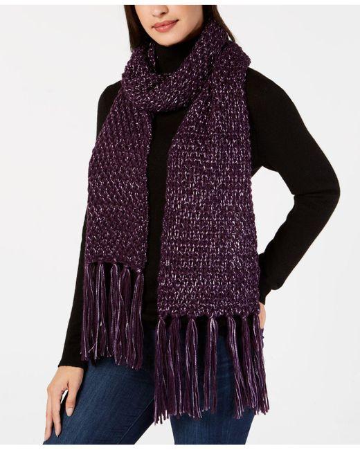 Steve Madden - Purple Shimmer-knit Tassel Scarf - Lyst