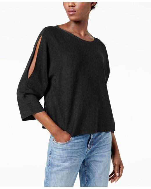 Eileen Fisher   Black Split-sleeve Sweater, Regular & Petite   Lyst