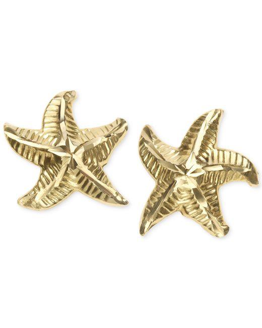 Macy's - Metallic Patterned Starfish Stud Earrings In 10k Gold - Lyst