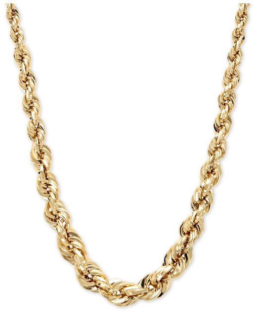 Macy's | Metallic Square Graduated Polished Rope Chain In 14k Gold | Lyst