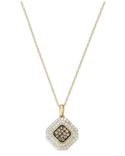 Wrapped in Love | Metallic White And Brown Diamond Pendant Necklace In 14k Gold (1/2 Ct. T.w.) | Lyst