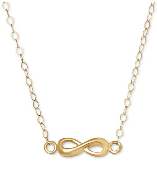 Macy's - Metallic Polished Infinity Pendant Necklace In 10k Gold - Lyst