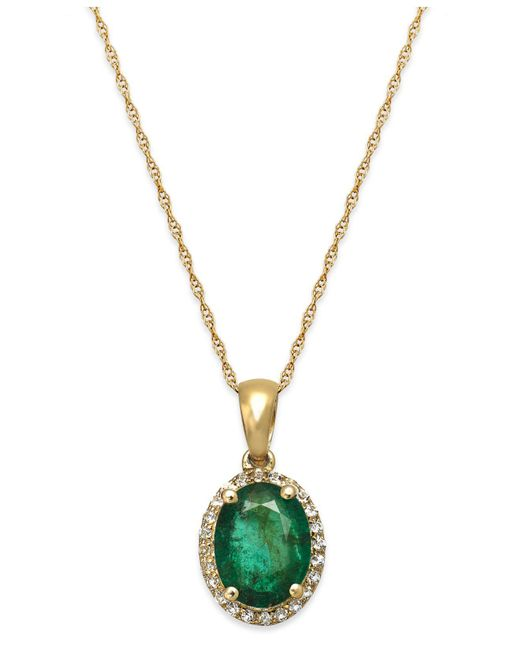 Macy's - Metallic Emerald And White Sapphire Oval Pendant Necklace In 10k Gold (2 Ct. T.w.) - Lyst