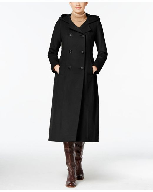 Anne Klein | Black Hooded Double-breasted Maxi Coat | Lyst
