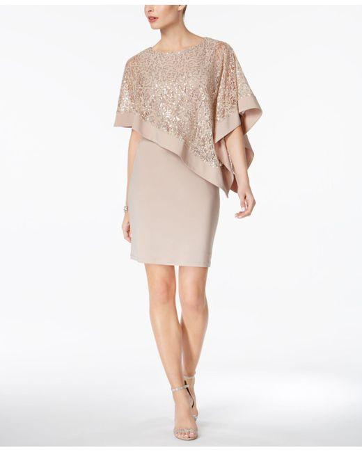 R & M Richards - Multicolor Sequined Cape Sheath Dress - Lyst