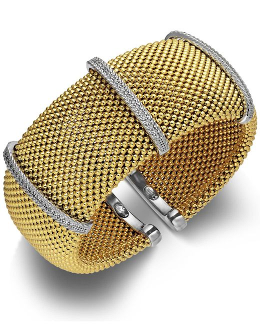 Macy's | Metallic Diamond Cuff Bracelet In 14k Gold Over Sterling Silver And Sterling Silver (1/2 Ct. T.w.) | Lyst