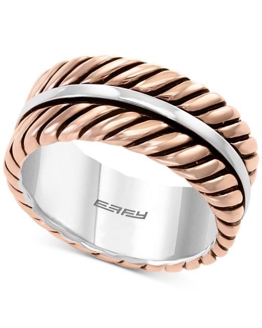 Effy Collection - Metallic Rope-look Ring In Sterling Silver & 18k Rose Gold-plate - Lyst