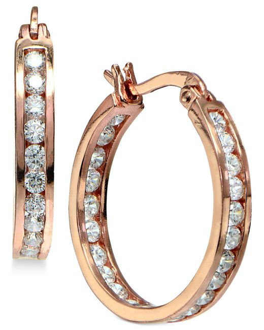 Giani Bernini - Metallic Cubic Zirconia Inside And Out Hoop Earrings In 18k Rose Gold-plated Sterling Silver - Lyst
