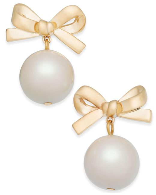 Kate Spade | Metallic 14k Gold-plated Imitation Pearl Bow Drop Earrings | Lyst