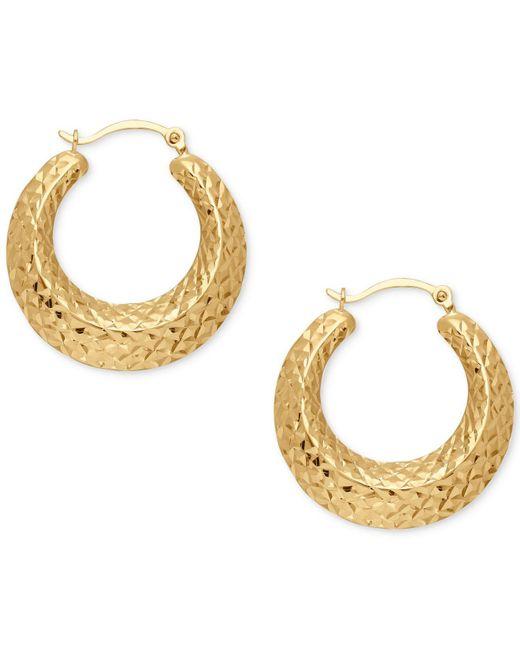 Macy's - Metallic Textured Hoop Earrings In 14k Gold - Lyst