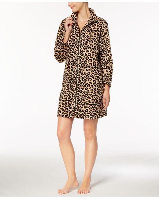 Miss Elaine | Multicolor Brushed-fleece Leopard-print Robe | Lyst