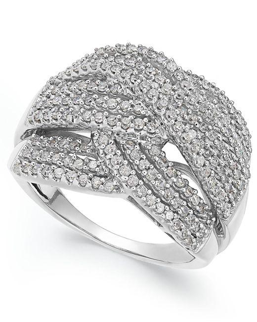 Macy's - Diamond Wave Ring In 10k White Gold (1 Ct. T.w.) - Lyst