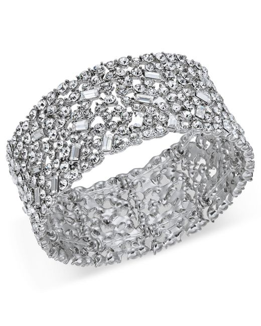 INC International Concepts - Metallic Silver-tone Wide Crystal Cluster Stretch Bracelet, Created For Macy's - Lyst