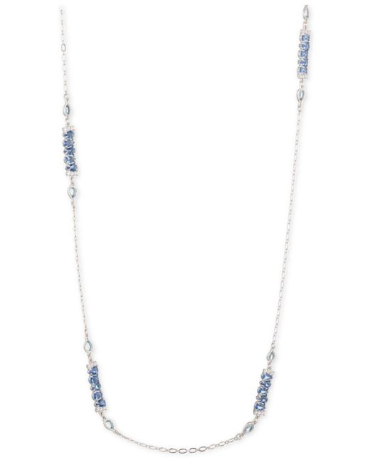 "Carolee - Metallic Silver-tone Crystal 36"" Station Necklace - Lyst"