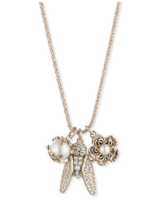 "Marchesa - Metallic Gold-tone Crystal & Imitation Pearl Garden Charm Pendant Necklace, 18"" + 3"" Extender - Lyst"