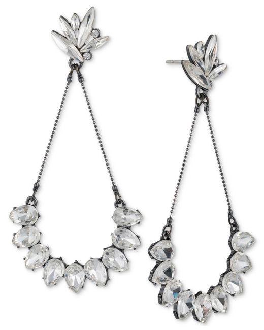 ABS By Allen Schwartz | White Hematite-tone Crystal Drop Earrings | Lyst