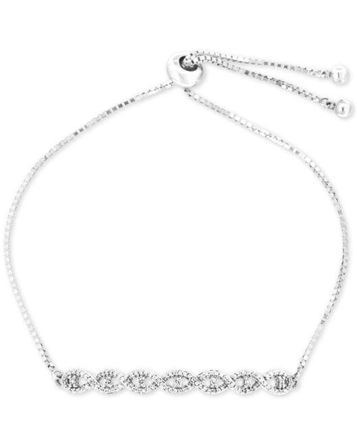 Macy's - Metallic Diamond Twist Slider Bracelet (1/4 Ct. T.w.) In Sterling Silver - Lyst