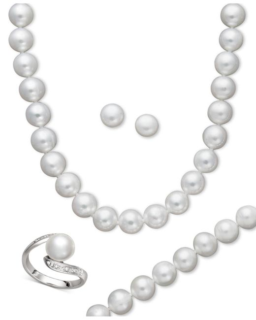 Macy's - White Pearl Jewelry Set, Sterling Silver Cultured Freshwater Pearl And Diamond Accent Jewelry Set - Lyst