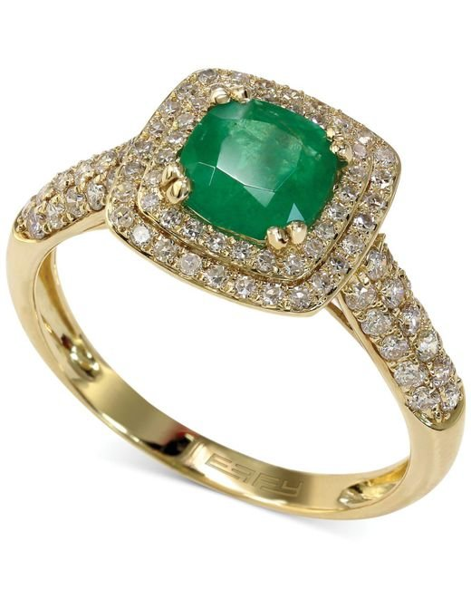 Effy Collection - Green Emerald (7/8 Ct. T.w.) And Diamond (1/2 Ct. T.w.) Cushion Ring In 14k Gold - Lyst