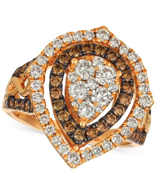 Le Vian - Metallic ® Chocolate & Nudetm Diamond Cluster Halo Ring (1-9/10 Ct. T.w.) In 14k Rose Gold - Lyst