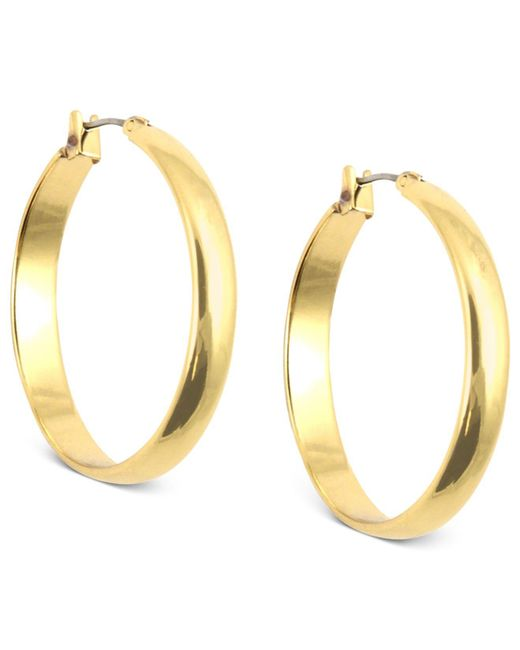 Anne Klein - Metallic Gold-tone Click-it Hoop Earrings - Lyst