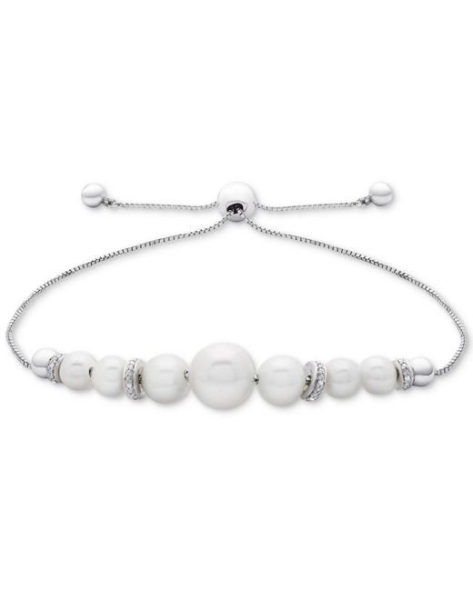 Macy's - Metallic Cultured Freshwater Pearl (4-1/2mm To 8-1/2mm) & Diamond Accent Bolo Bracelet In Sterling Silver - Lyst