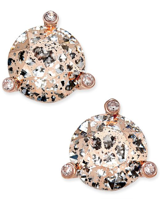 Kate Spade - Metallic Rose Gold-tone Crystal And Stone Stud Earrings - Lyst