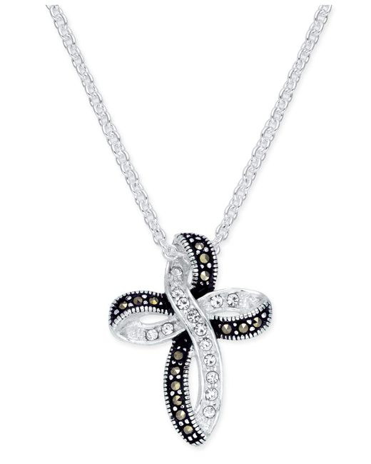 Macy's - Metallic Marcasite (1 Ct. T.w.) & Crystal Looped Cross Pendant Necklace In Fine Silver-plate - Lyst