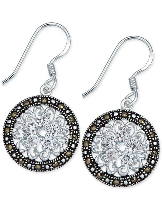 Macy's - Metallic Marcasite & Crystal Flower Disc Drop Earrings In Fine Silver-plate - Lyst