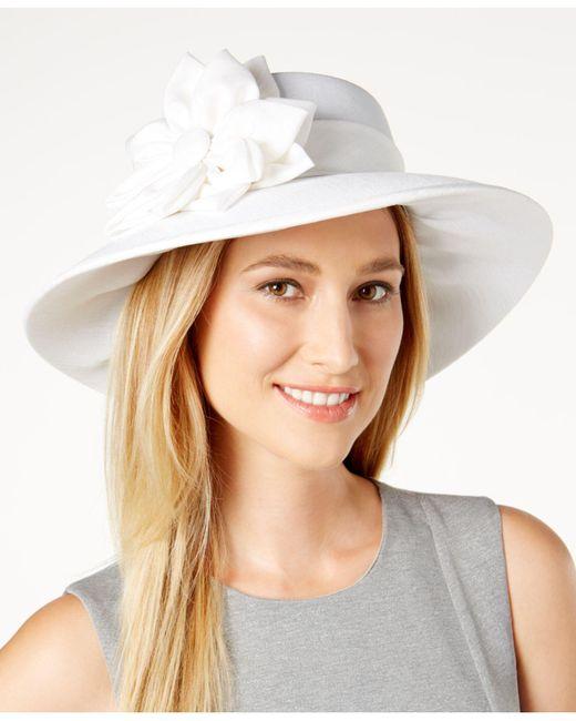 August Accessories | White Shantung-textured Down-brim Hat | Lyst