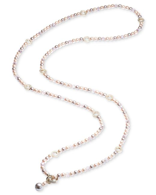 Carolee | Gold-tone Pavé Ring & Pink Imitation Pearl Convertible Strand Necklace | Lyst