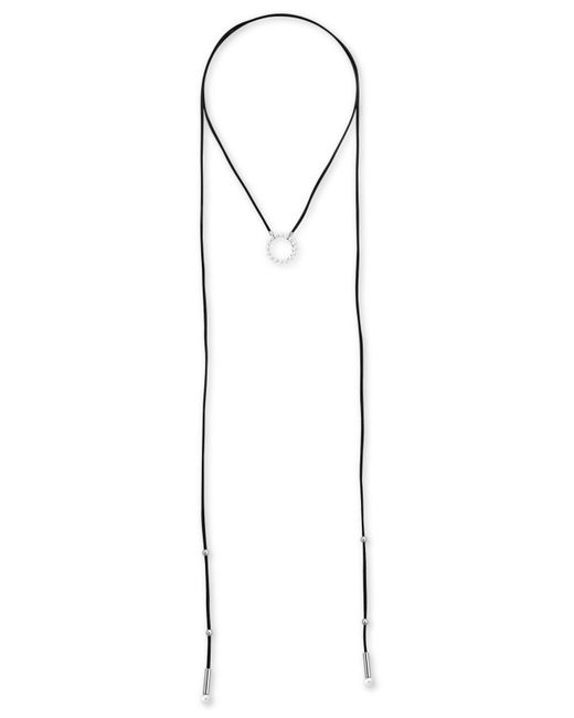 "Majorica - White Silver-tone Bead & Imitation Pearl 59"" Leather Wrap Pendant Necklace - Lyst"