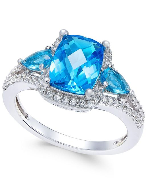 Macy's - Metallic Swiss Blue Topaz (2-5/8 Ct. T.w.) And White Topaz (1/4 Ct. T.w.) Ring In Sterling Silver - Lyst