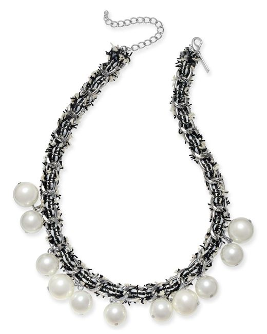 "INC International Concepts - Metallic I.n.c. Silver-tone Imitation Pearl Fabric-weaved Collar Necklace, 18"" + 3"" Extender, Created For Macy's - Lyst"