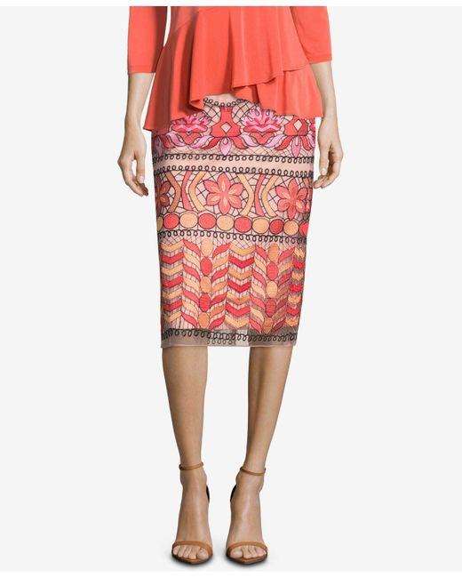 Eci - Pink Embroidered Pencil Skirt - Lyst