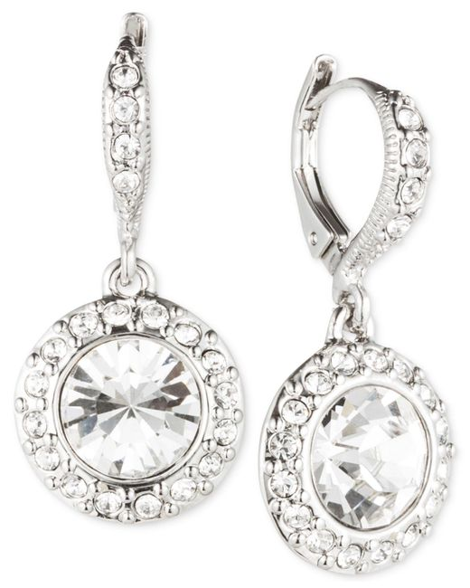 Givenchy - Metallic Rhodium-plated Crystal Round Drop Earrings - Lyst