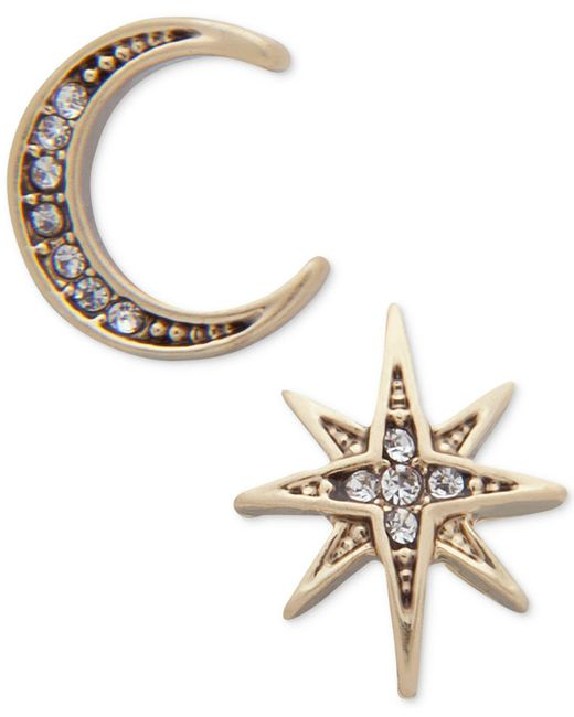 Lonna & Lilly - Metallic Gold-tone Moon & Stars Mismatch Earrings - Lyst
