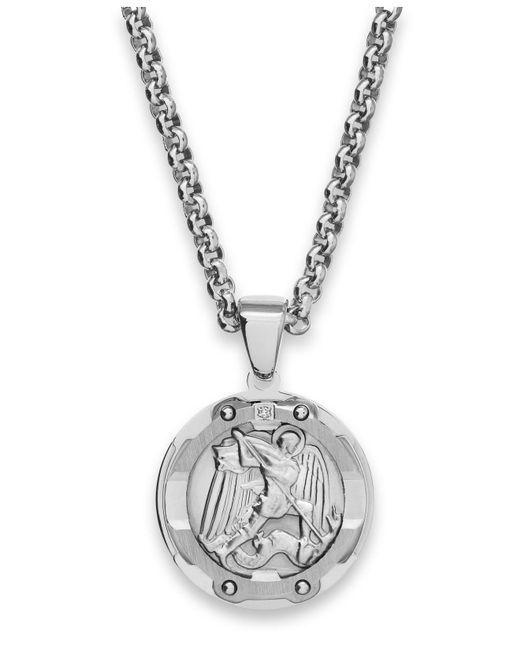 Macy's - Metallic Men's St. Christopher Diamond Pendant Necklace In Stainless Steel for Men - Lyst