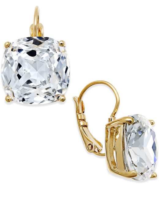 Kate Spade - Metallic Gold-tone Crystal Square Leverback Earrings - Lyst
