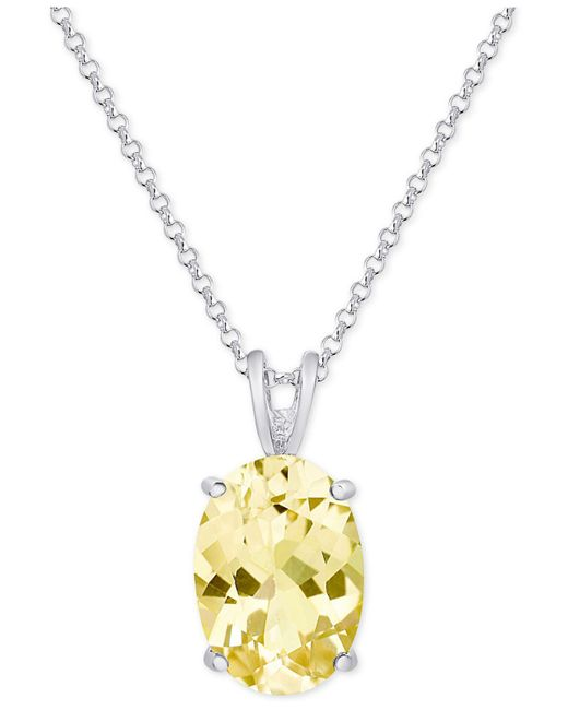 Macy's | Metallic Citrine Pendant Necklace (5-1/5 Ct. T.w.) In Sterling Silver | Lyst