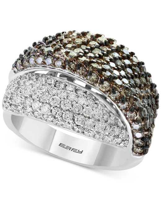 Effy Collection - Metallic Diamond Overlap Statement Ring (2-7/8 Ct. T.w.) In 18k White Gold - Lyst