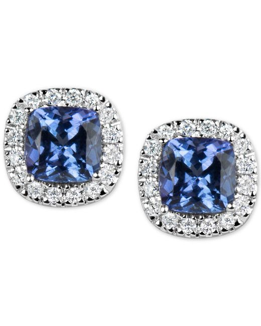Macy's | Blue Tanzanite (1-1/5 Ct. T.w.) And Diamond (1/6 Ct. T.w.) Stud Earrings In 14k White Gold | Lyst