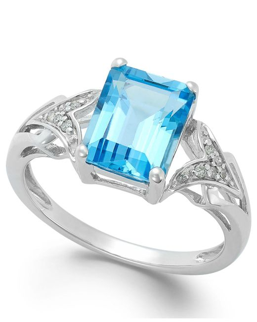 Macy's - Emerald-cut Blue Topaz (2-1/2 Ct. T.w.) And Diamond Accent Ring In 14k White Gold - Lyst