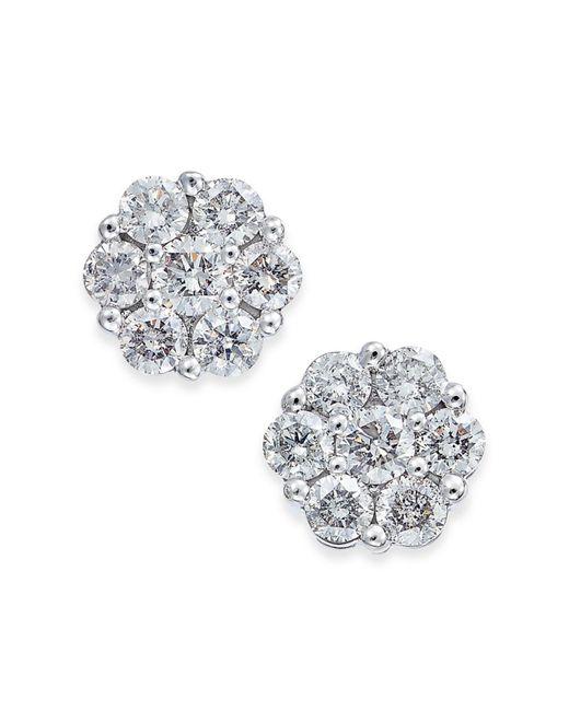 Macy's - Metallic Diamond Cluster Stud Earrings (1/3 Ct. T.w.) In 14k White Gold - Lyst