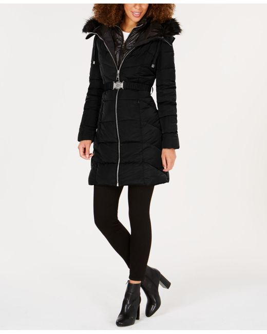 Lyst Guess Faux Fur Trim Hooded Belted Puffer Coat In Black