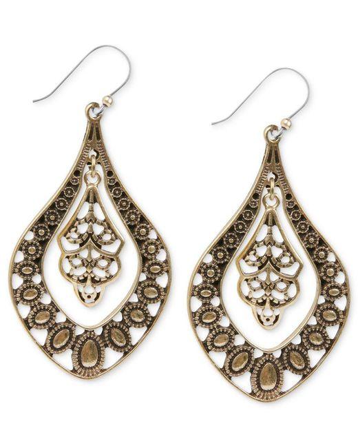 Lucky Brand | Metallic Earrings, Gold-tone Filigree Oblong Earrings | Lyst