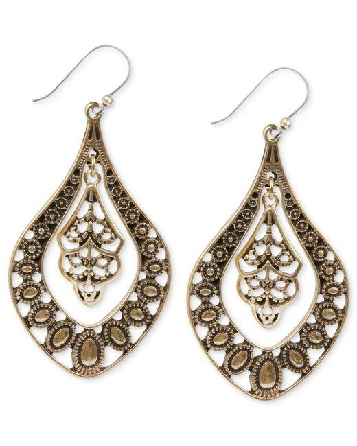 Lucky Brand   Metallic Earrings, Gold-tone Filigree Oblong Earrings   Lyst
