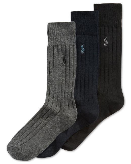Polo Ralph Lauren | Black Three-pack Crew Socks for Men | Lyst